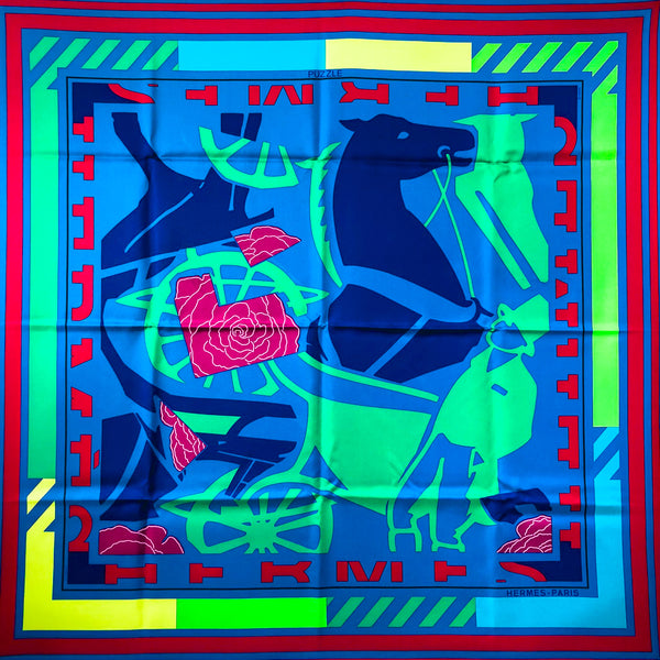 Puzzle II Hermes Scarf by Joachim Metz 90cm Silk from 2000