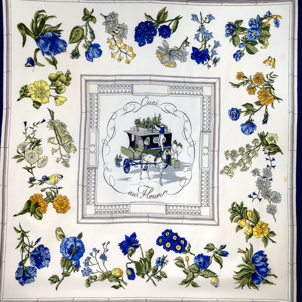 Quai aux Fleurs Hermes Scarf by Hugo Grygkar 90 cm Silk Twill Blue | White Early Issue