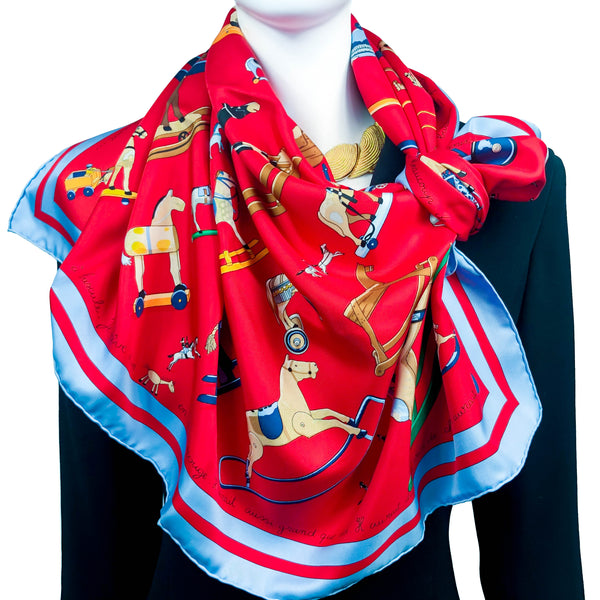 Raconte-Moi le Cheval Hermes silk scarf (100% silk) - with light blue border