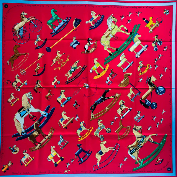 Raconte-Moi le Cheval Hermes silk scarf in red colorway