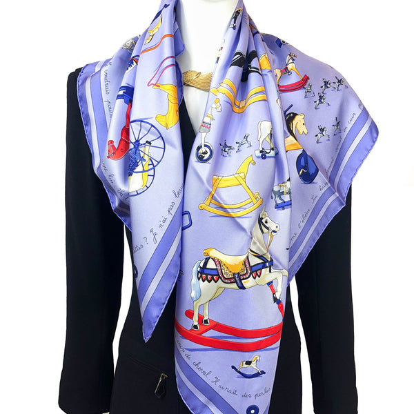 Raconte-Moi le Cheval Hermes Scarf by Rybaltchenko 90cm Silk GRAIL Lilac