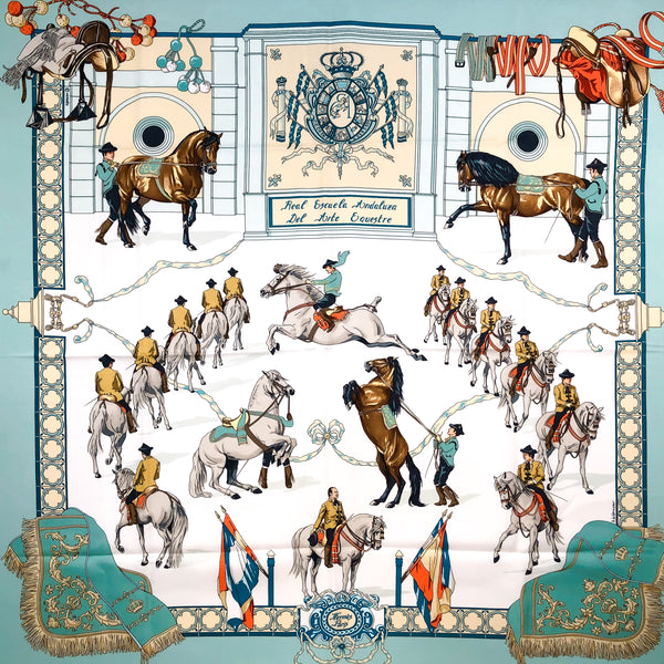 Real Escuela Andaluza Hermes Scarf by Hubert de Watrigant 90 cm Silk Twill
