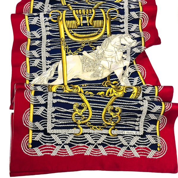 Reversible Hermes Silk Shawl Mors et Gourmettes with horse bits and 4 horses and riders
