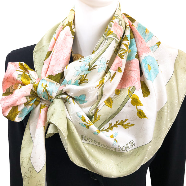 "Romantique Hermes Scarf by Maurice Tranchant 90cm Silk ""H"" Jacquard"