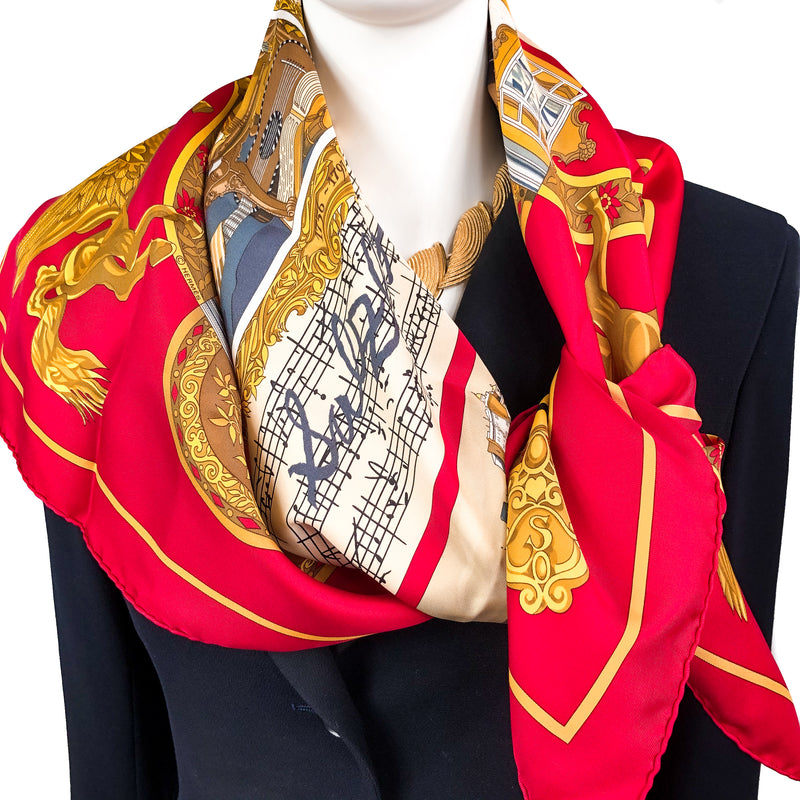 Salzburg Hermes Scarf by Dubigeon 90cm Silk Twill Red w/Box