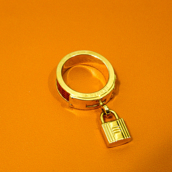 Hermes Kelly Gold/Red Scarf Ring