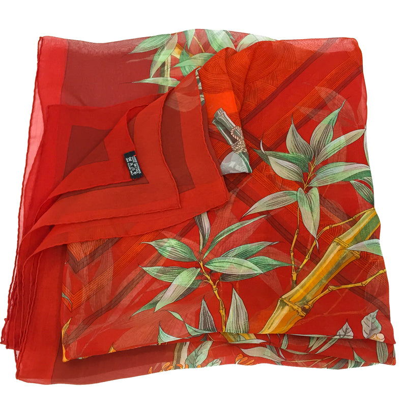 "Serenite Hermes Silk Chiffon/Mousseline 140 cm Giant Scarf 55"" x 55"" care tag"