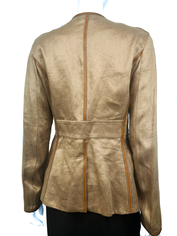 Backside of Hermes Linen/Hemp Jacket Topsticked in Barenia Calfskin 2007