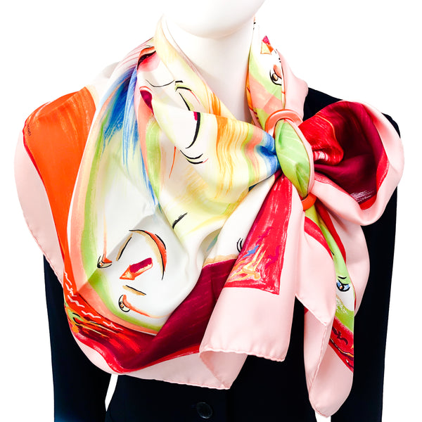Smiles in Third Millenary Hermes Scarf by Sefedine Ibrahim Alamin 90c m Silk Pink