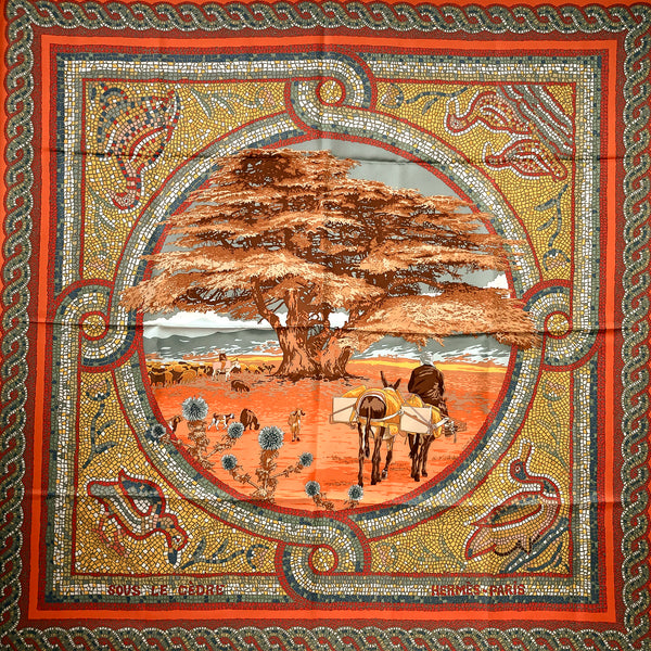 Sous le Cedre Hermes Scarf by Dimitri R 90 cm Silk Twill Orange CW