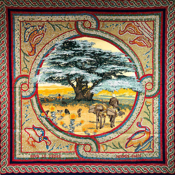 Sous le Cedre Hermes Scarf by Dimitri Rybaltchenko 90 cm Silk Twill