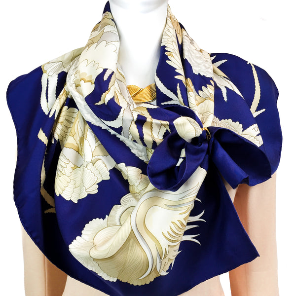 Tahiti Hermes Silk Scarf in Navy & Beige Color Palette - Early issue