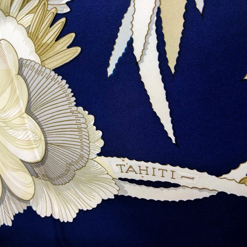 Tahiti Hermes Silk Scarf close up