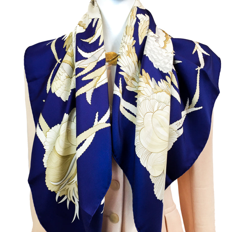 Tahiti Hermes Silk Scarf with light jacket
