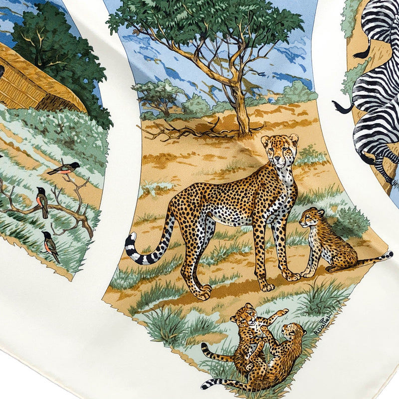 Tanzanie Hermes scarf designed by Robert Dallet, close up of artist's signature