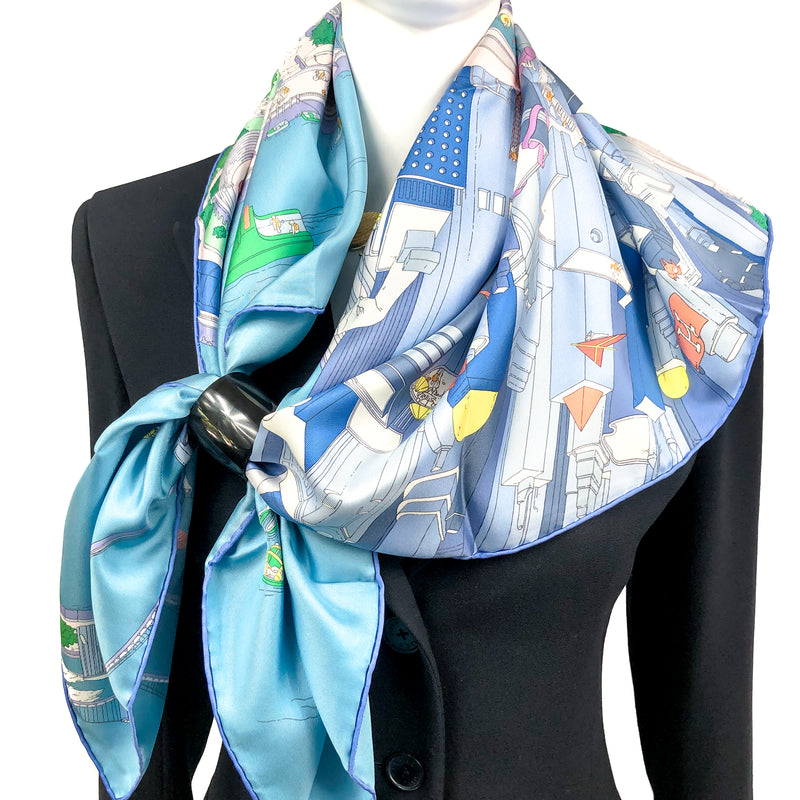 The Battery New-York Hermes Scarf by Ugo Gattoni 90 cm Silk SOLD OUT 2nd Issue UNWORN