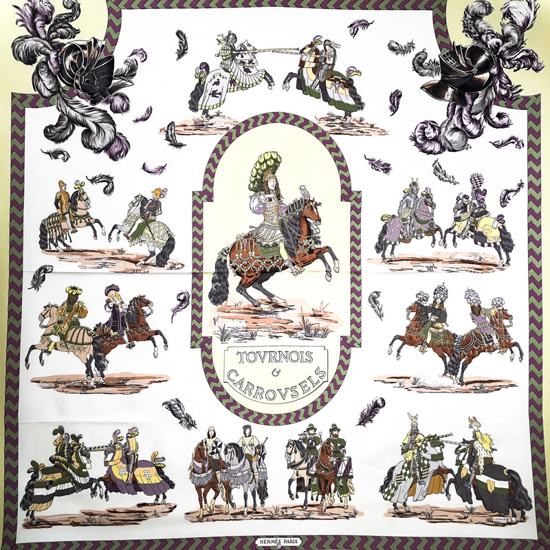 Tournois et Carrousels Hermes Scarf by Ledoux 90 cm Silk - Early Issue RARE