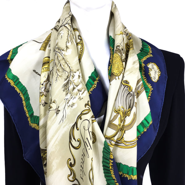 Traineaux et Glissades Hermes silk scarf from 1966