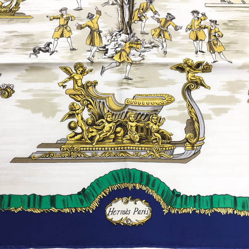Traineaux et Glissades Hermes silk scarf with early copyright