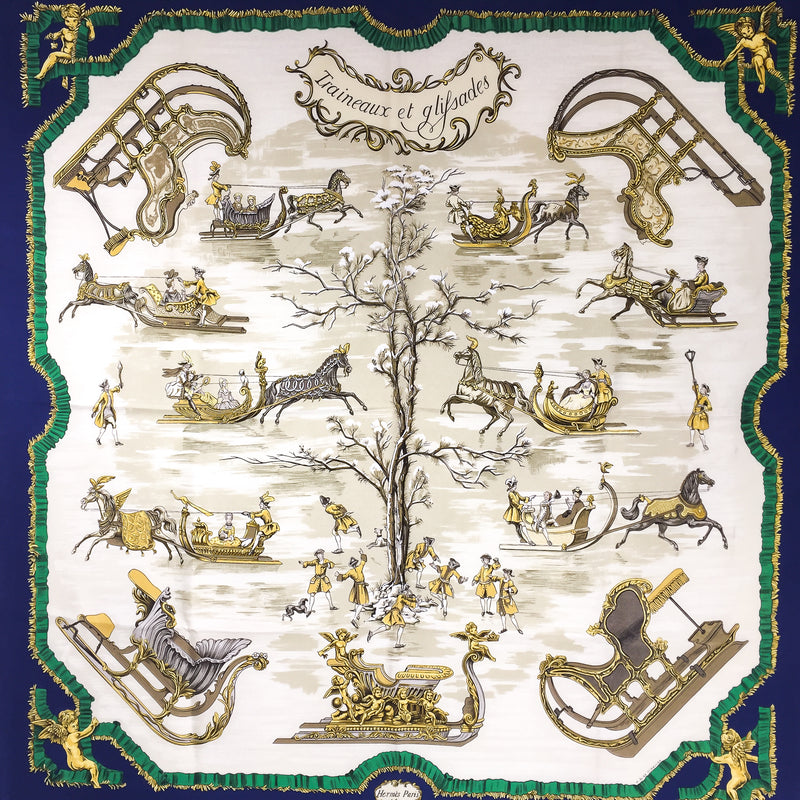 Traineaux et Glissades Hermes silk scarf 90cm twill