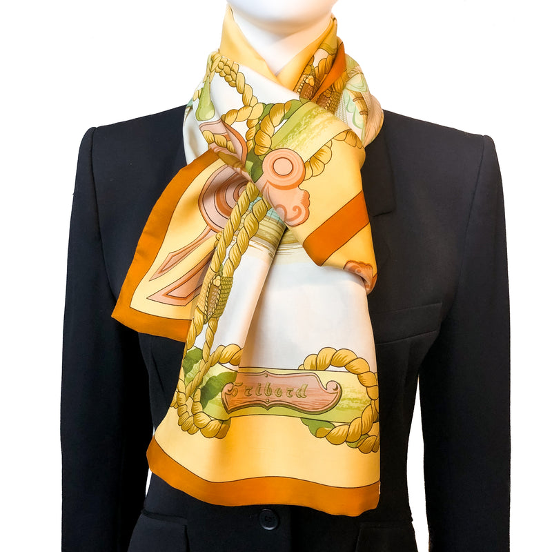 Tribord Hermes Reversible Opera Silk Scarf or Shawl by Julia Abadie - RARE