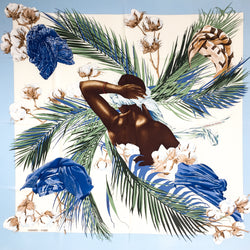 Turbans des Reines Hermes Silk Scarf with light blue border