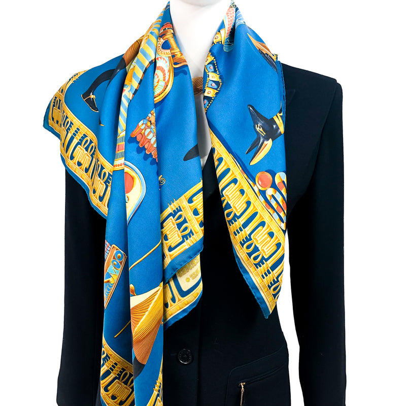Tutankhamun Hermes Scarf by Rybal 90cm Silk Twill Early Issue