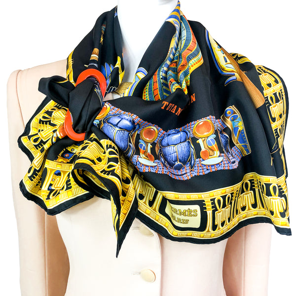 Tutankhamun Hermes Silk Scarf with one of ours scarf rings