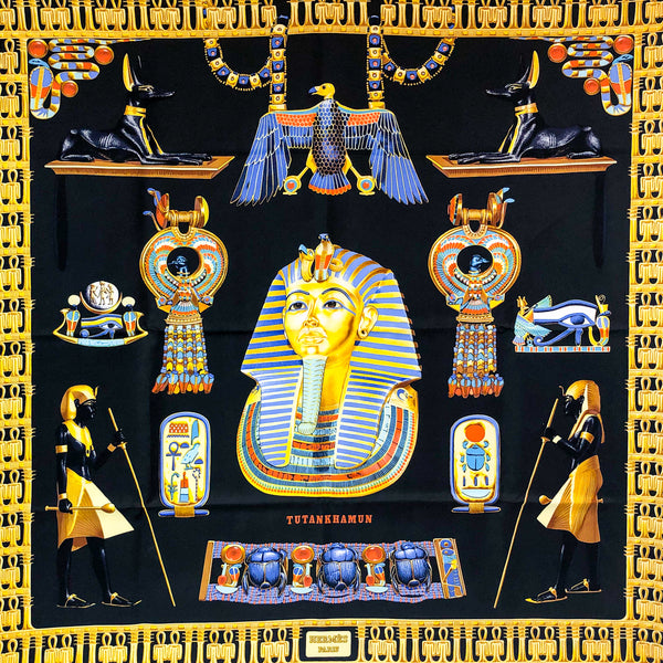 Tutankhamun Hermes Silk Scarf in Stunning Black Color Palette