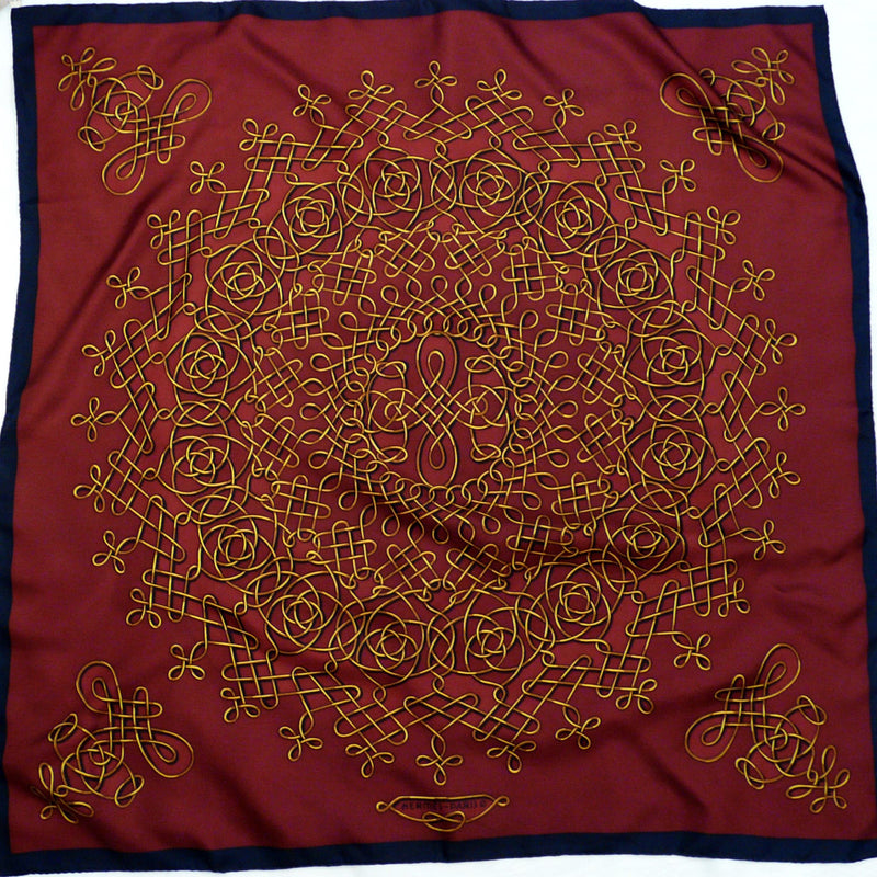 Vintage Hermes Silk Scarf Vinci Maroon Dark Red Colorway