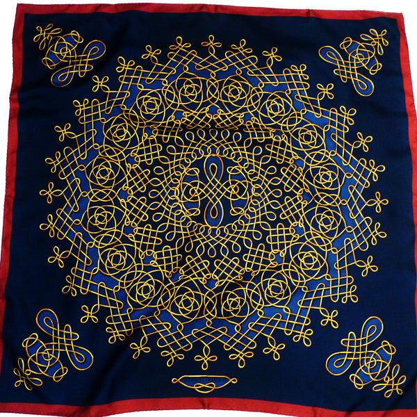 Vinci HERMES Vtg Scarf Navy with Maroon Border