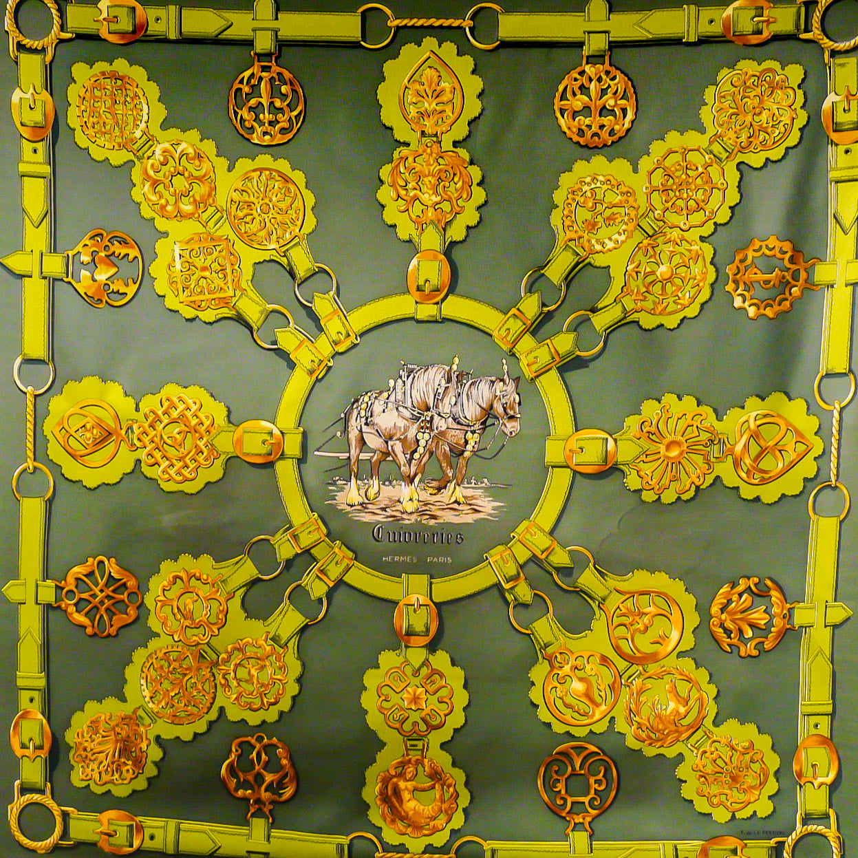 Cuivreries HERMES Silk Scarf Early Issue Green on Green