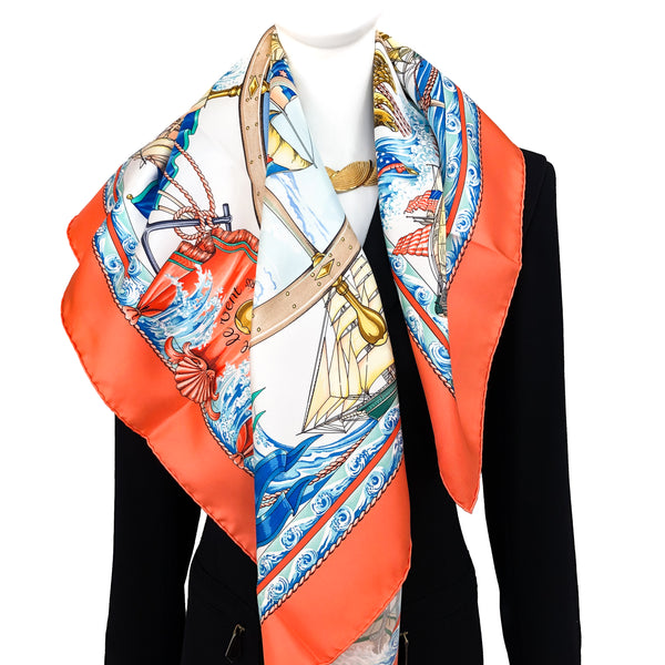 Vive le Vent Hermes Scarf by Toutsy 90 cm Silk Salmon Orange CW UNWORN