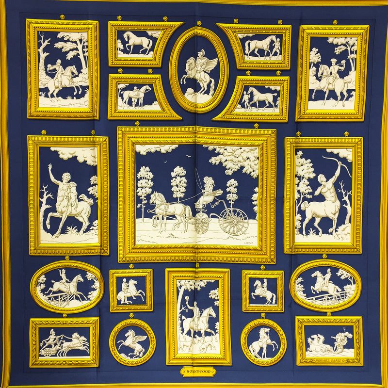 Hermes Silk Scarf Wedgwood Early Issue Navy from 1974