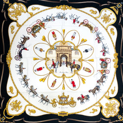 The Royal Mews - Buckingham Palace Hermes Scarf by de Fougerolle 90 cm Silk Twill RARE