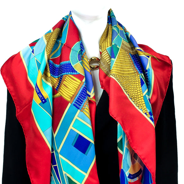 L'Art Indien des Plaines Hermes silk twill scarf in red, teal and yellow