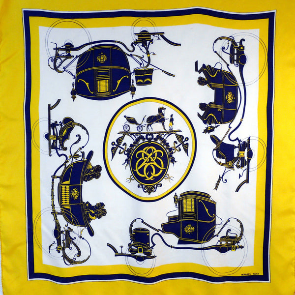 Ex Libris Hermes scarf in blue white and yellow