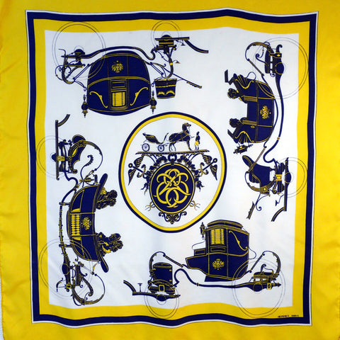 Authentic Vintage Hermes Silk Scarf Ex Libris Yellow Blue Early Issue