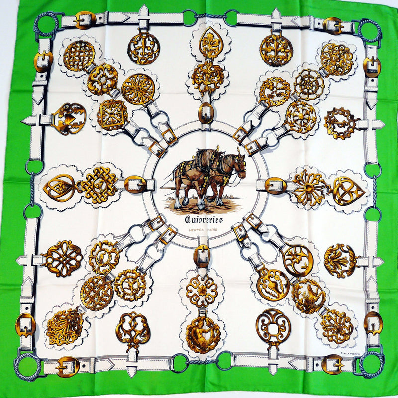 Vintage Hermes Silk Scarf Cuivreries Original Issue