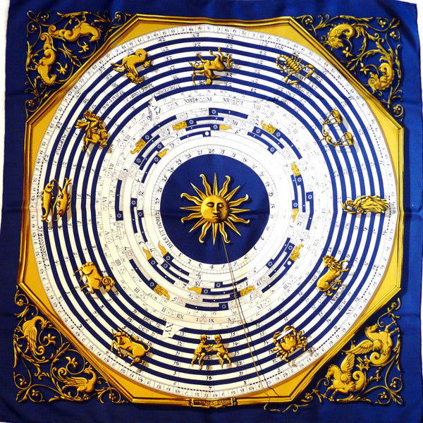 Authentic Vintage Hermes Silk Scarf Astrologie Dies et Hore Navy Early Issue