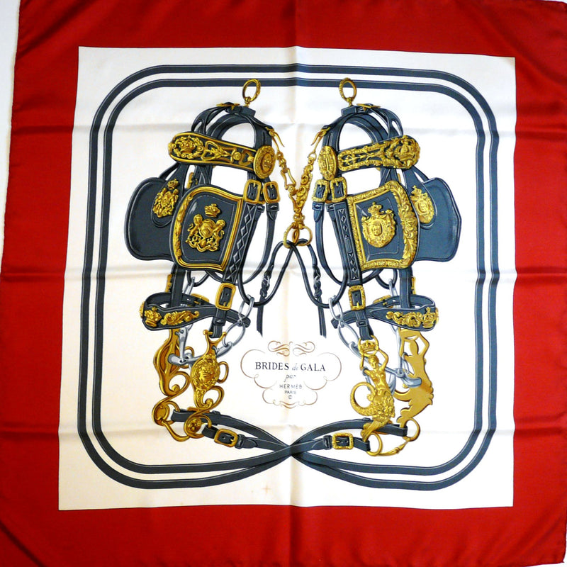 Brides de Gala Hermes Silk Scarf in classic red