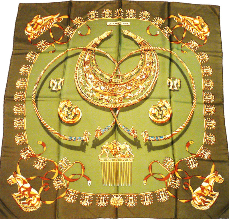 Hermes Silk Scarf Les Cavaliers D'Or Khaki colorway
