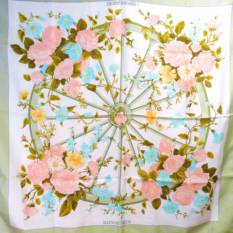 Authentic Vintage Hermes Silk Scarf Romantique Early Issue Twill Edition Rare