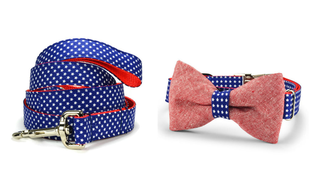 All American Bow Tie Collar and Leash Set