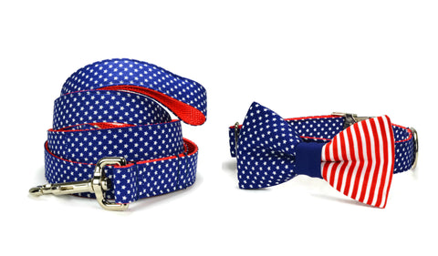 American Flag Bow Tie Collar and Leash Set