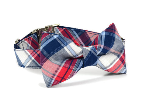 bow tie dog collar, dog bow tie collar, bow tie for dog, bowtie collar, bowtie for dog, Americana Plaid Bow Tie Collar,