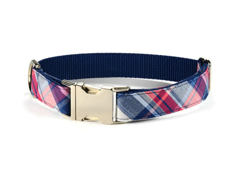 dog collar, plaid dog collar, navy plaid dog collar, navy dog collar, preppy dog collar, nautical dog collar, plaid dog collar