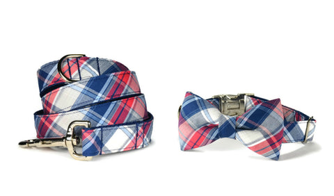 Americana Plaid Bow Tie Collar and Leash Set