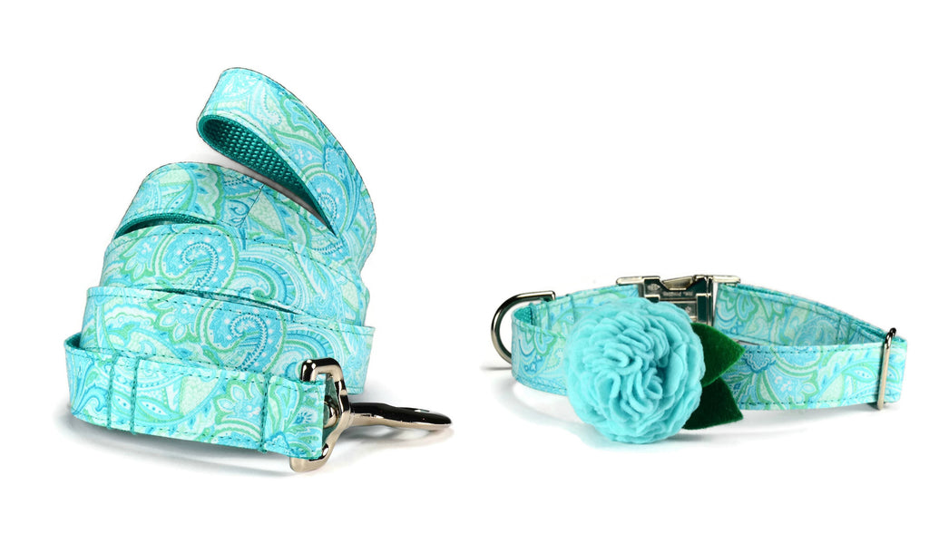 Aqua Paisley Bloom Collar and Leash Set w/ Aqua Bloom