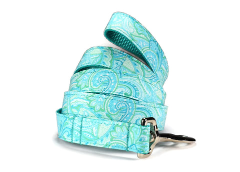 Aqua Paisley Dog Leash